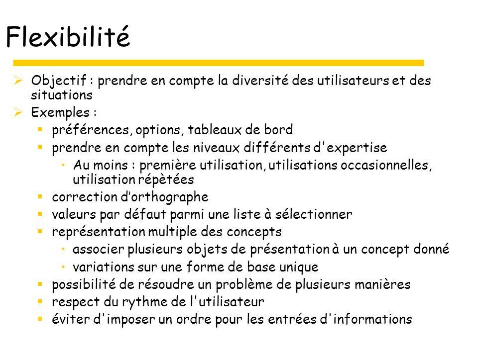 Flexibilité Objectif : prendre en compte la diversité des utilisateurs et des situations. Exemples :