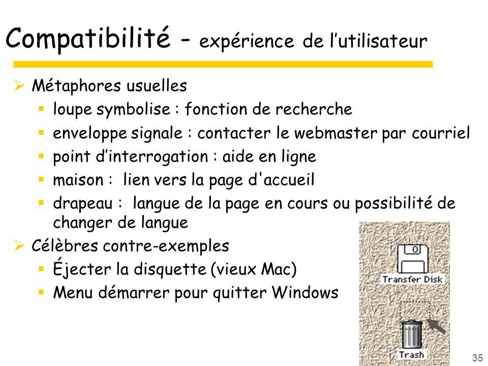 Compatibilité - expérience de l'utilisateur