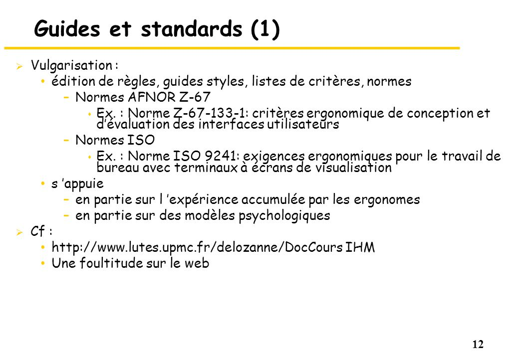 Guides et standards (1) Vulgarisation :