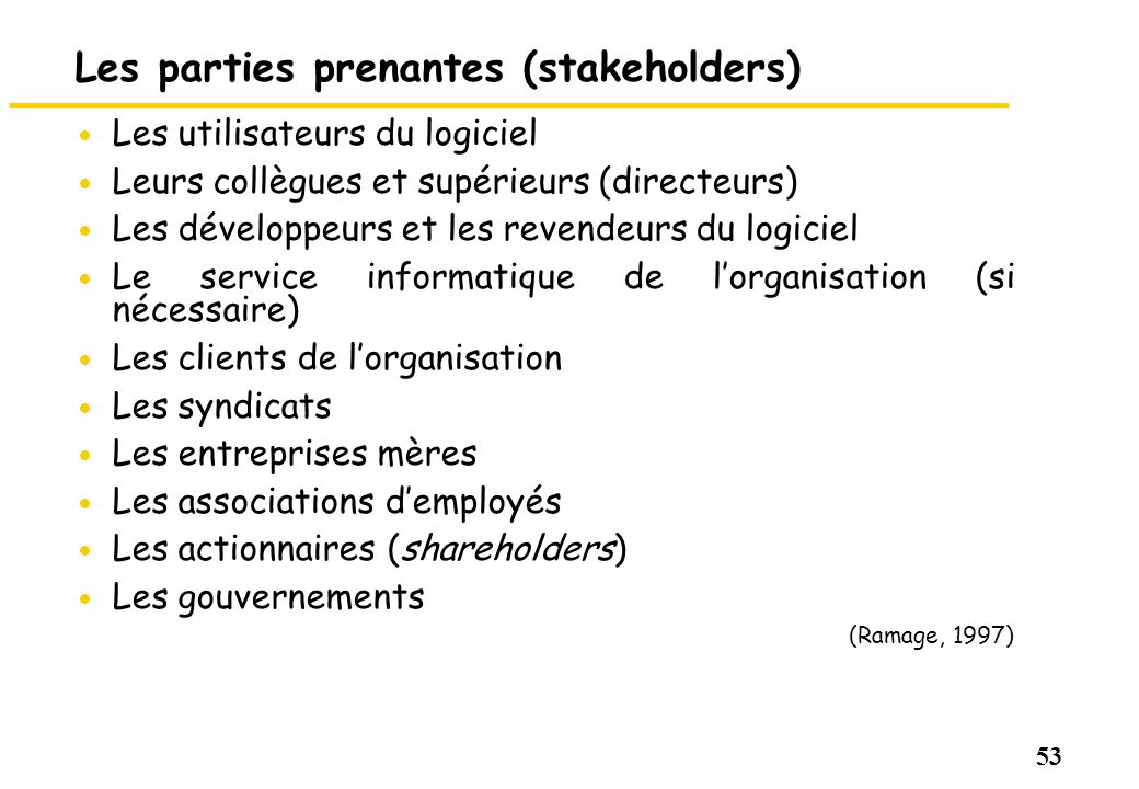 Les parties prenantes (stakeholders)
