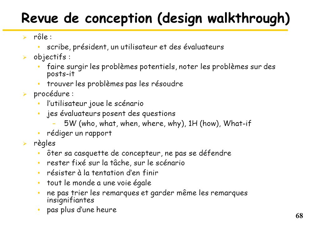 Revue de conception (design walkthrough)
