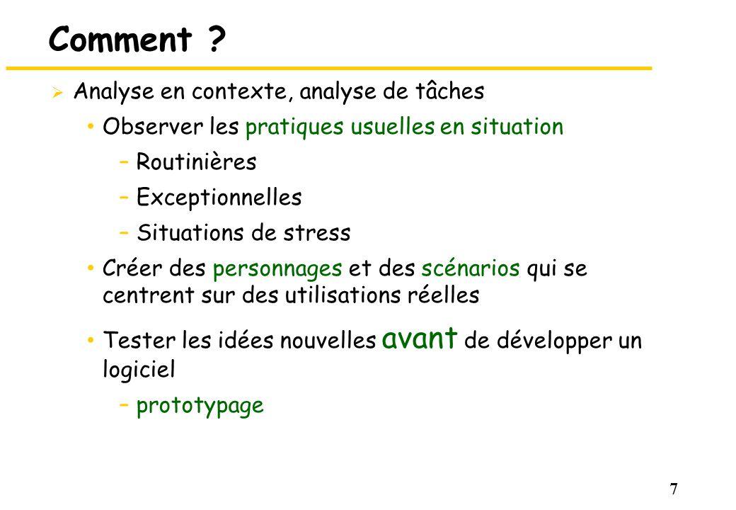 Comment Analyse en contexte, analyse de tâches