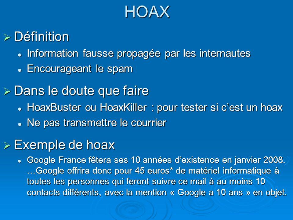 HOAX Définition Dans le doute que faire Exemple de hoax