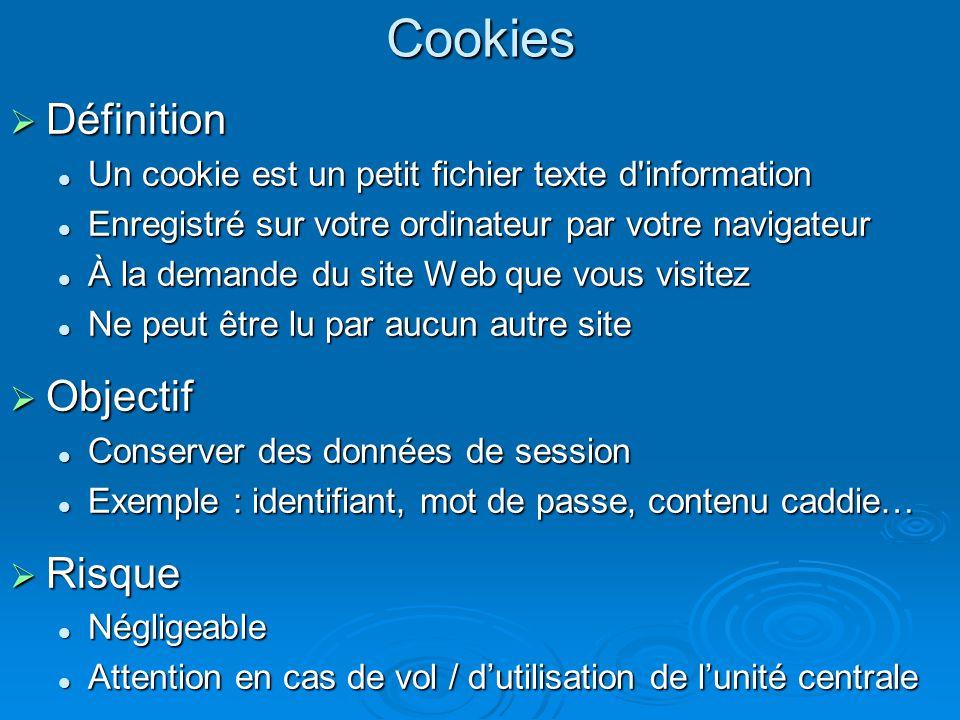 Cookies Définition Objectif Risque