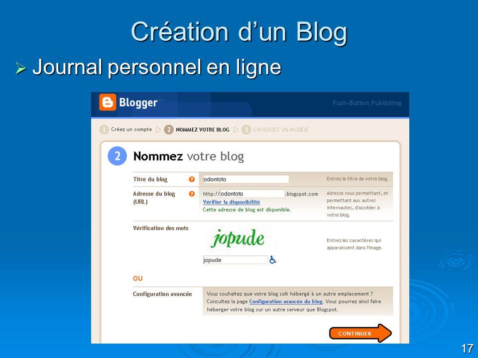 Création d'un Blog Journal personnel en ligne