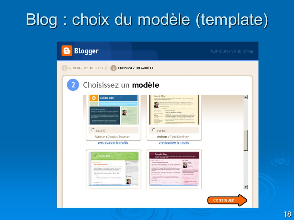 Blog : choix du modèle (template)