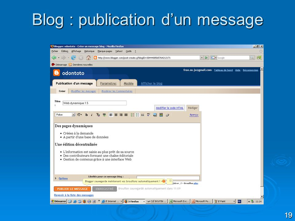 Blog : publication d'un message