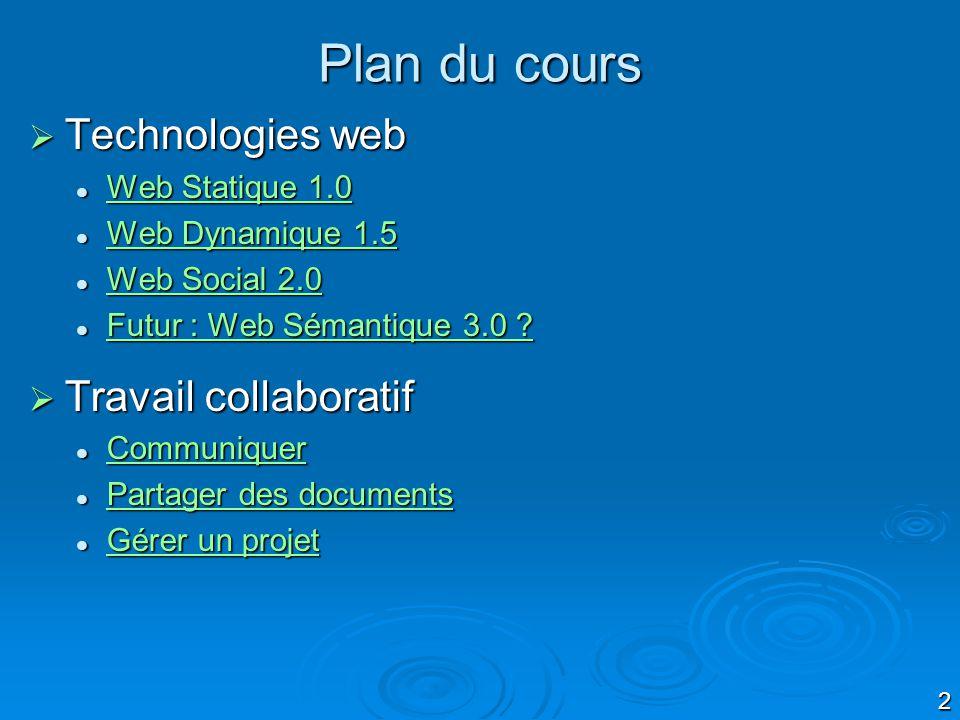 Plan du cours Technologies web Travail collaboratif Web Statique 1.0
