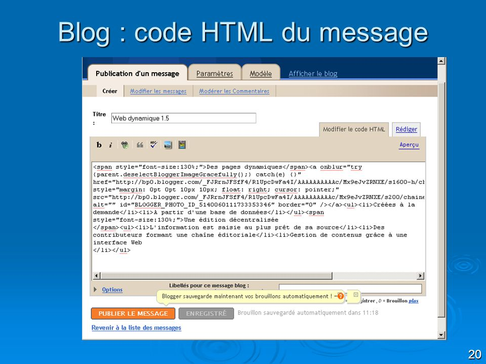 Blog : code HTML du message