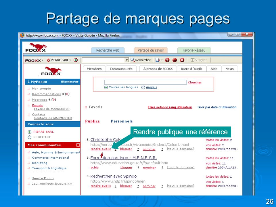 Partage de marques pages