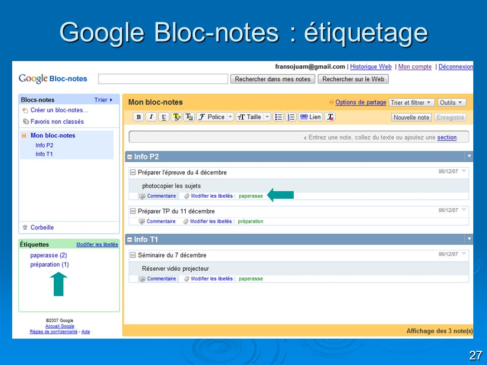 Google Bloc-notes : étiquetage
