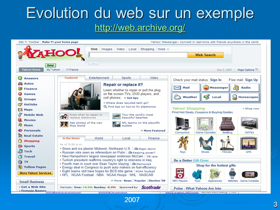 Evolution du web sur un exemple http://web.archive.org/