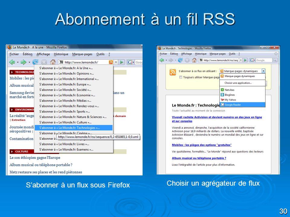 Abonnement à un fil RSS Choisir un agrégateur de flux