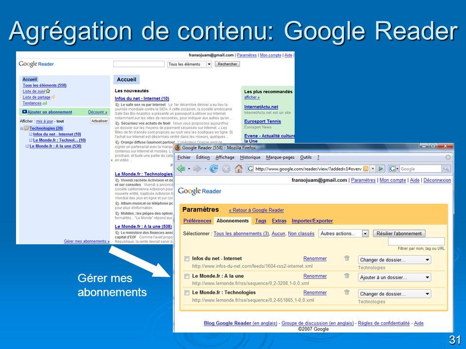 Agrégation de contenu: Google Reader