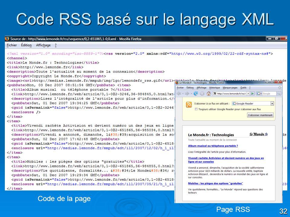 Code RSS basé sur le langage XML