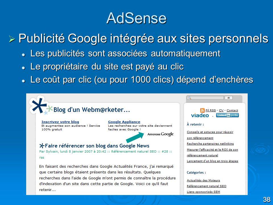 AdSense Publicité Google intégrée aux sites personnels