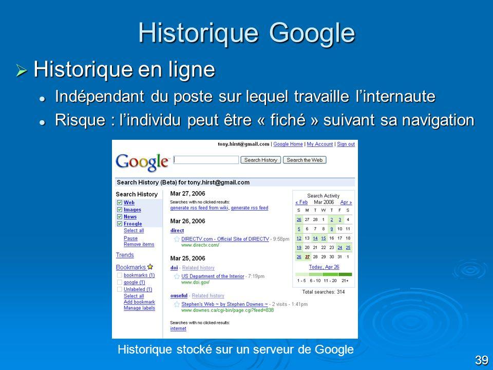 Historique Google Historique en ligne