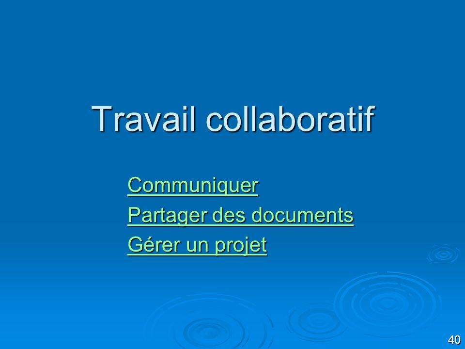 Communiquer Partager des documents Gérer un projet