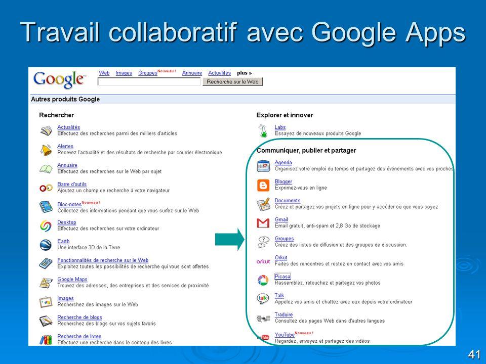 Travail collaboratif avec Google Apps