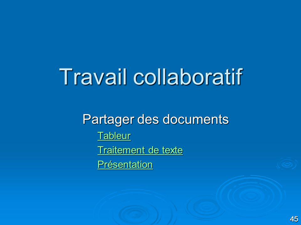 Partager des documents Tableur Traitement de texte Présentation