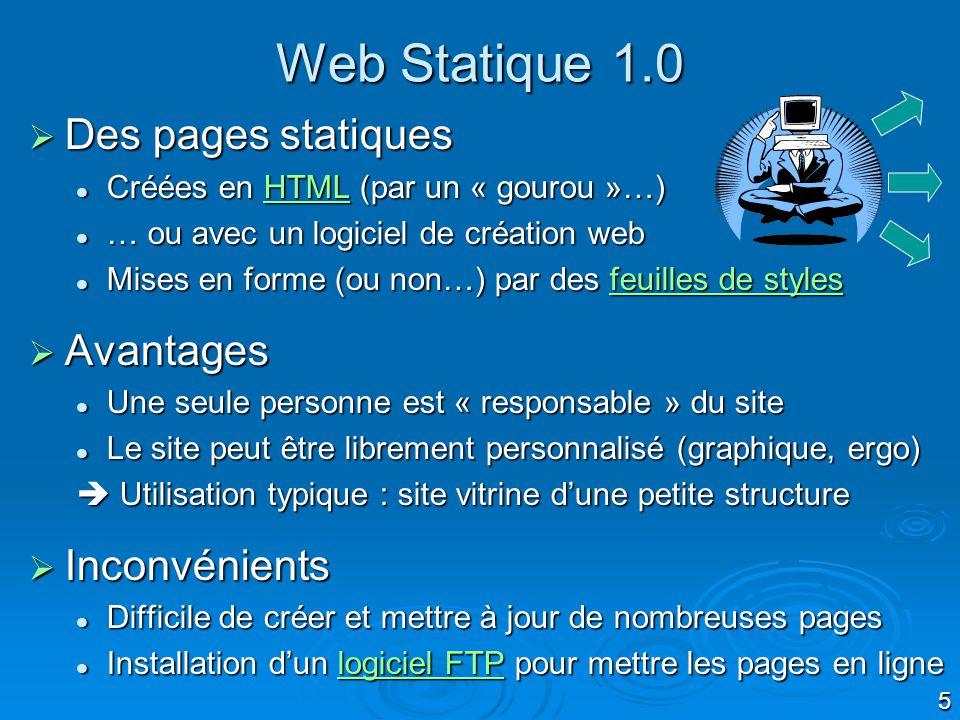 Web Statique 1.0 Des pages statiques Avantages Inconvénients