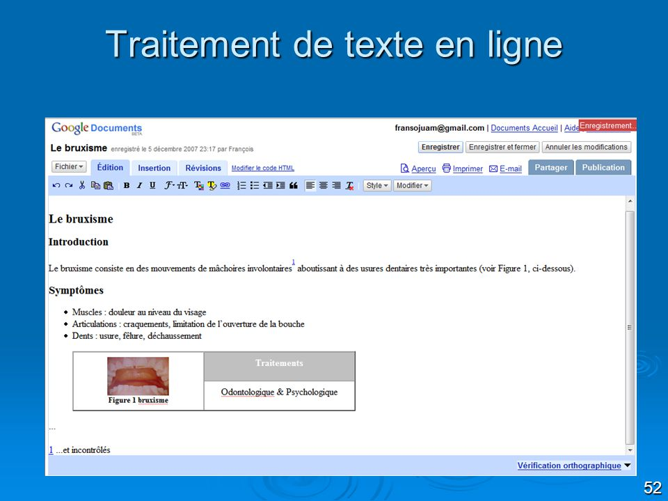 Traitement de texte en ligne