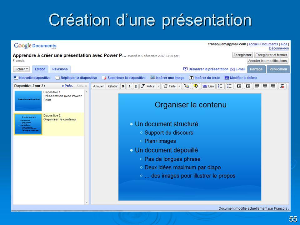Création d'une présentation