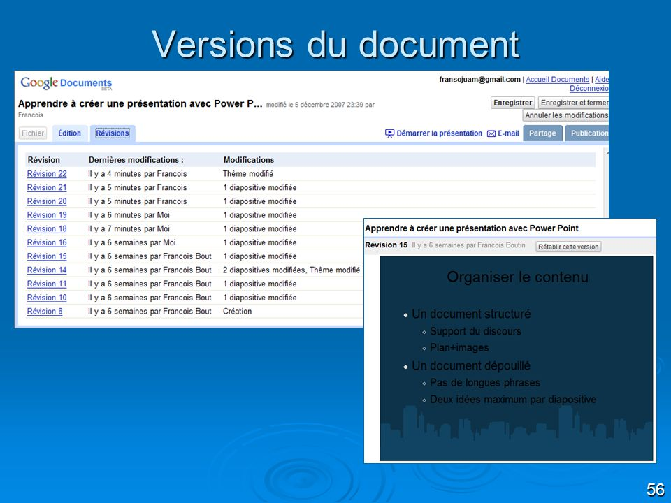 Versions du document