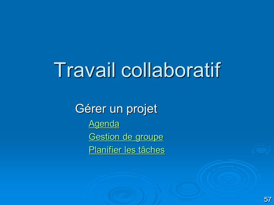 Gérer un projet Agenda Gestion de groupe Planifier les tâches