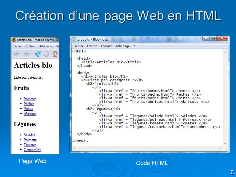 Création d'une page Web en HTML