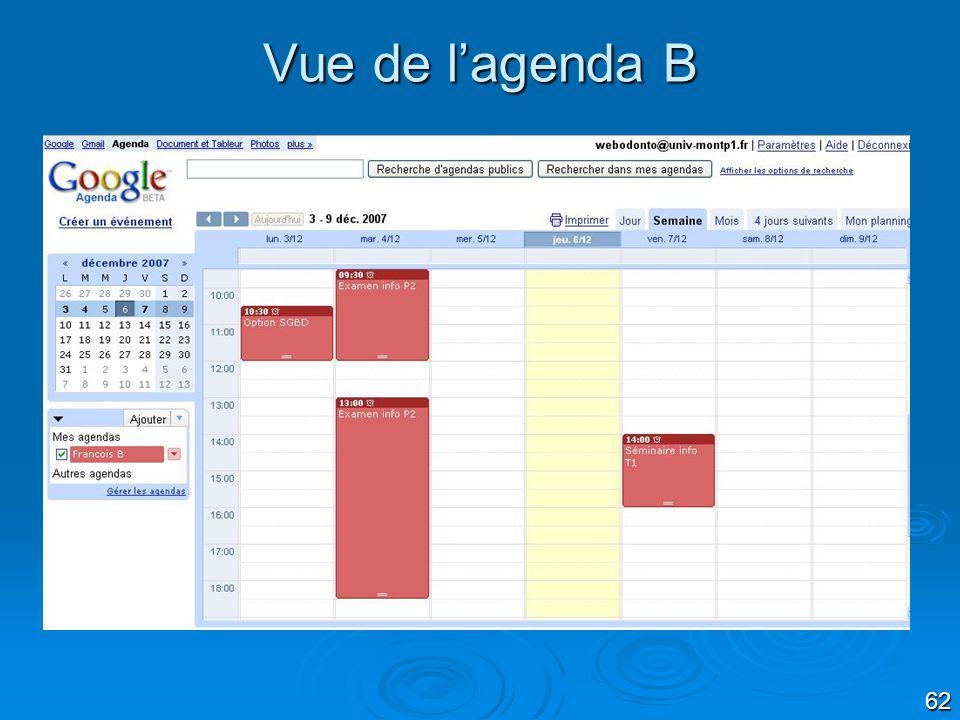 Vue de l'agenda B