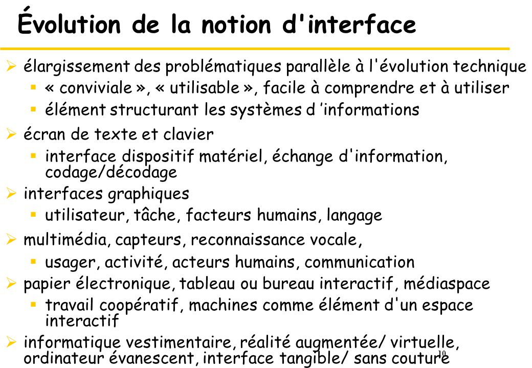 Évolution de la notion d interface