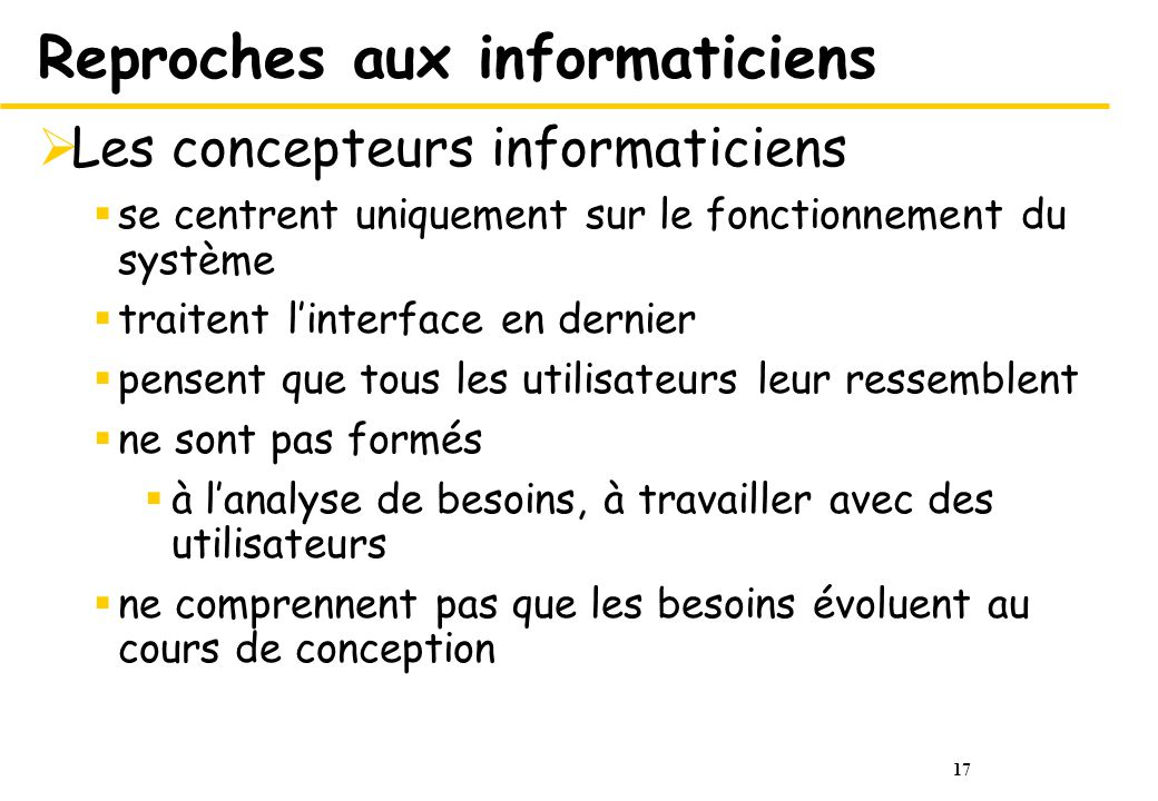 Reproches aux informaticiens