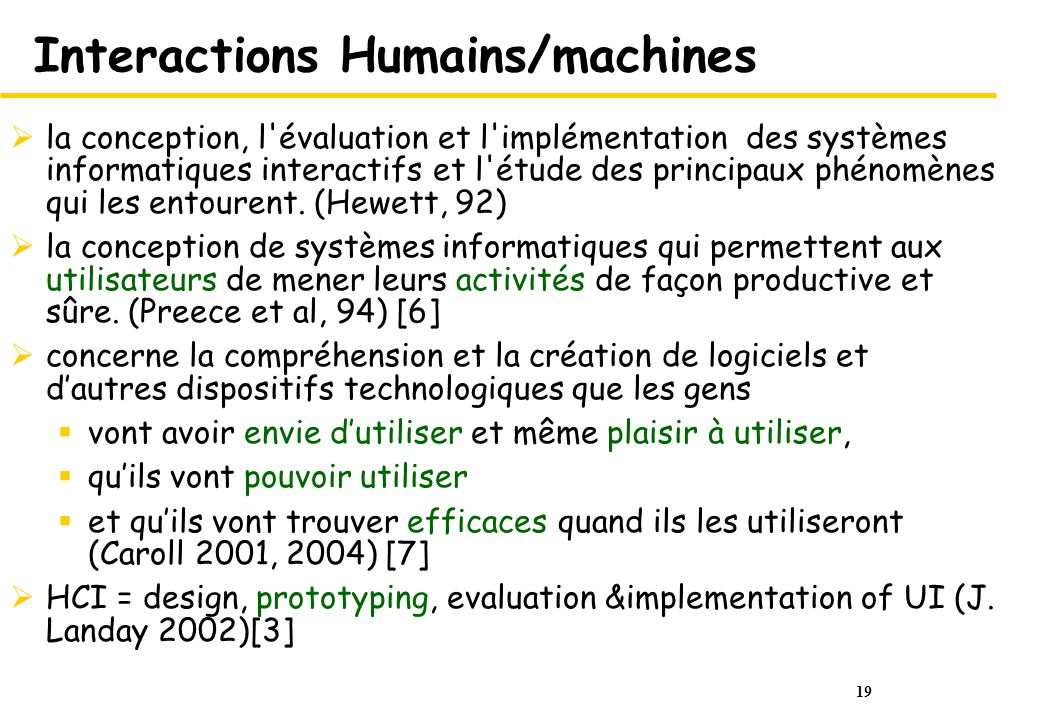 Interactions Humains/machines