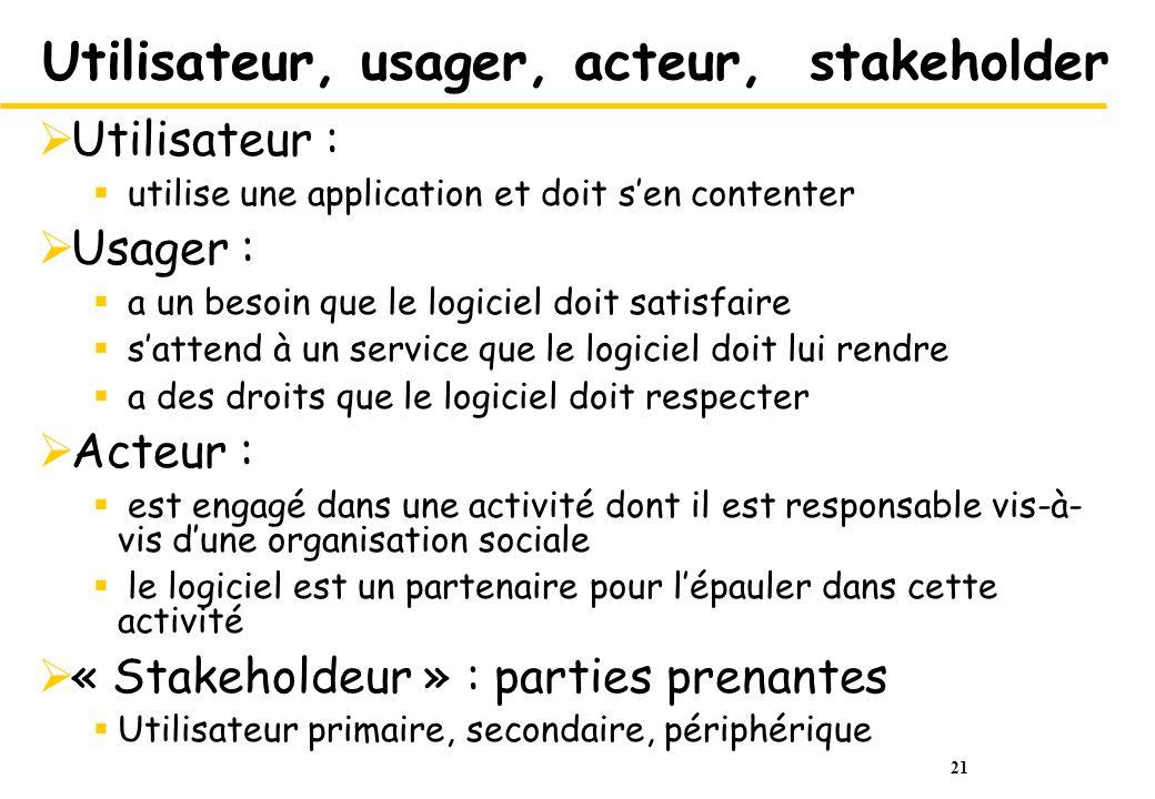 Utilisateur, usager, acteur, stakeholder
