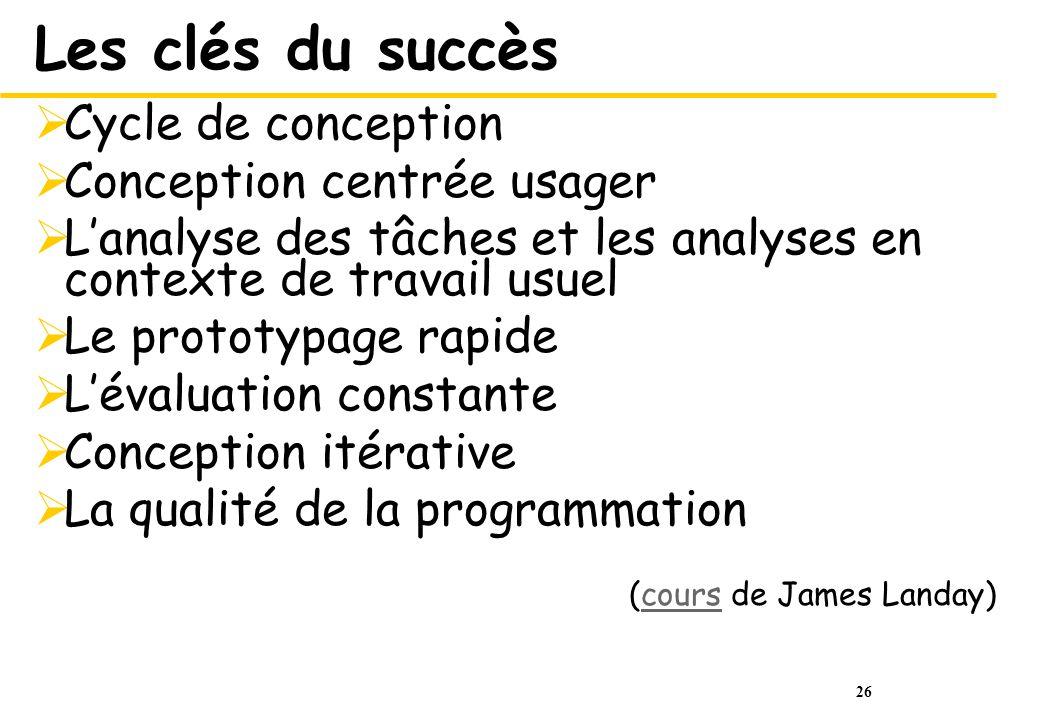 Les clés du succès Cycle de conception Conception centrée usager