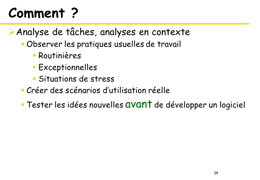 Comment Analyse de tâches, analyses en contexte