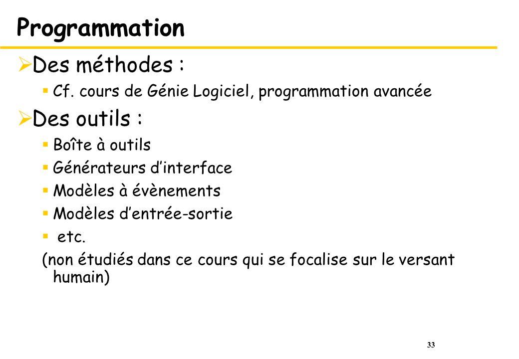 Programmation Des méthodes : Des outils :