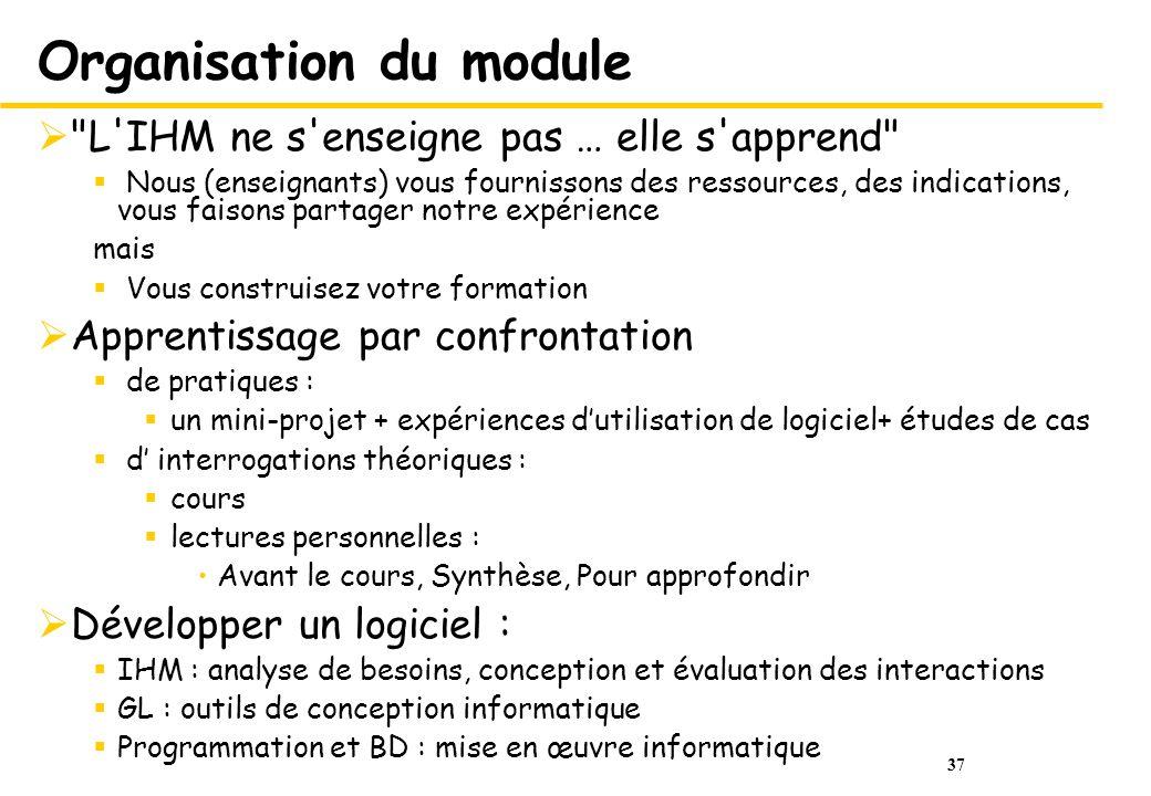 Organisation du module