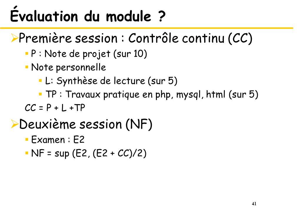 Évaluation du module Première session : Contrôle continu (CC)