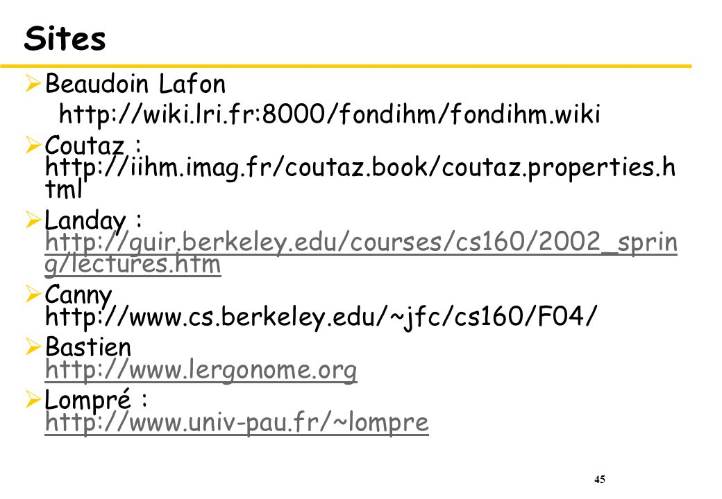 Sites Beaudoin Lafon http://wiki.lri.fr:8000/fondihm/fondihm.wiki