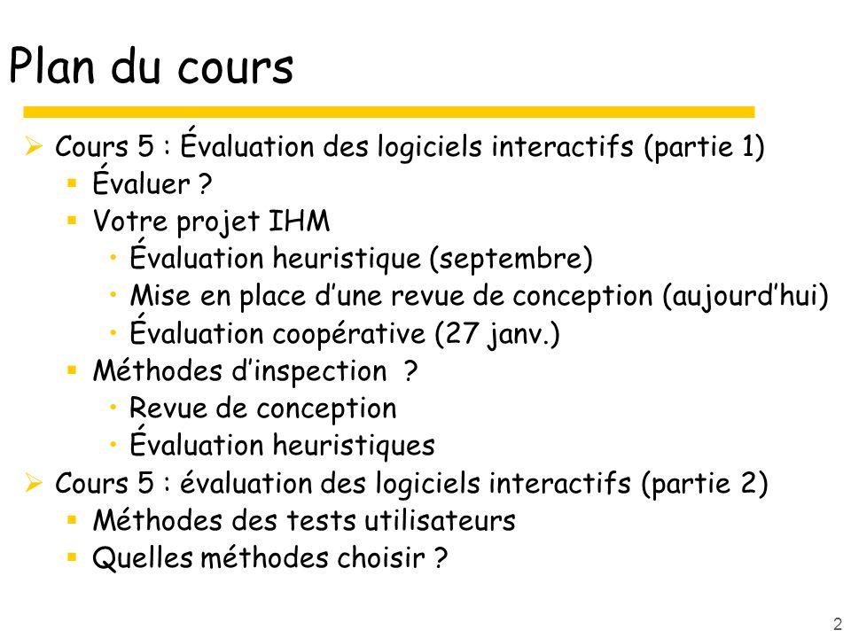 Plan du cours Cours 5 : Évaluation des logiciels interactifs (partie 1) Évaluer Votre projet IHM.
