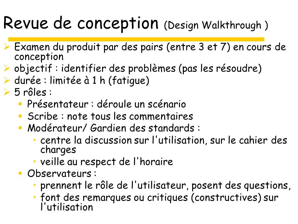 Revue de conception (Design Walkthrough )