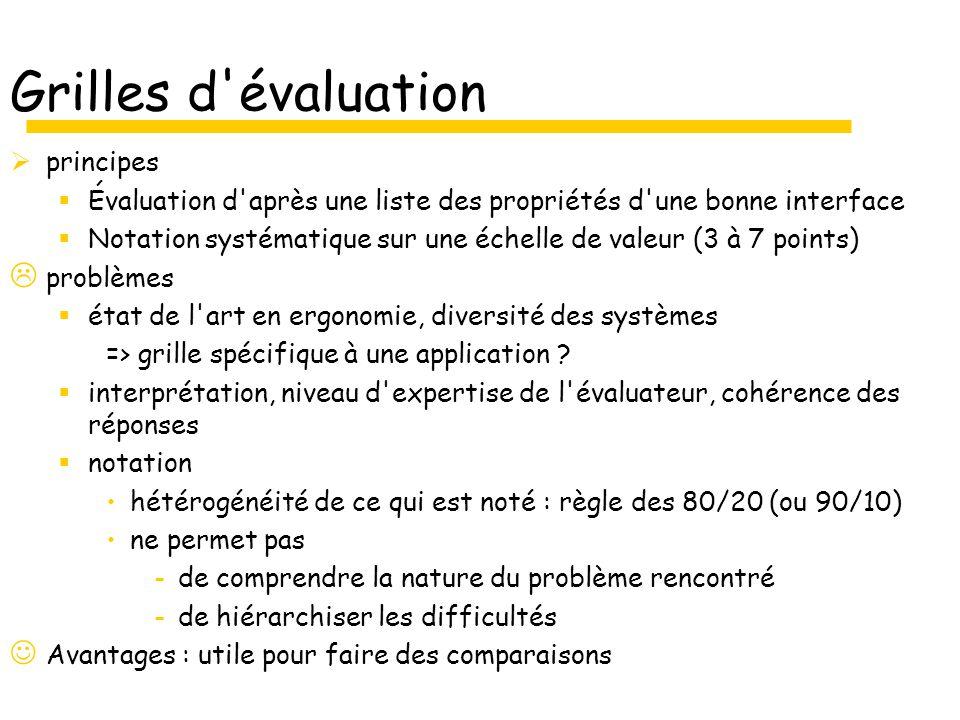 Grilles d évaluation principes