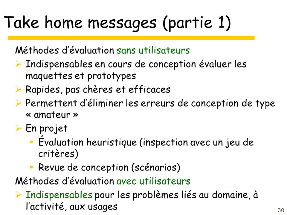 Take home messages (partie 1)