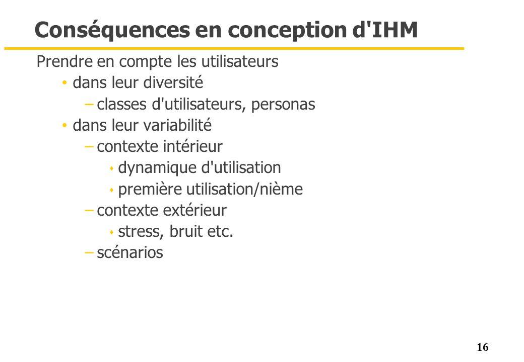 Conséquences en conception d IHM