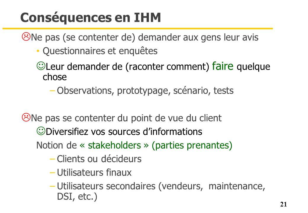 Conséquences en IHM Ne pas (se contenter de) demander aux gens leur avis. Questionnaires et enquêtes.