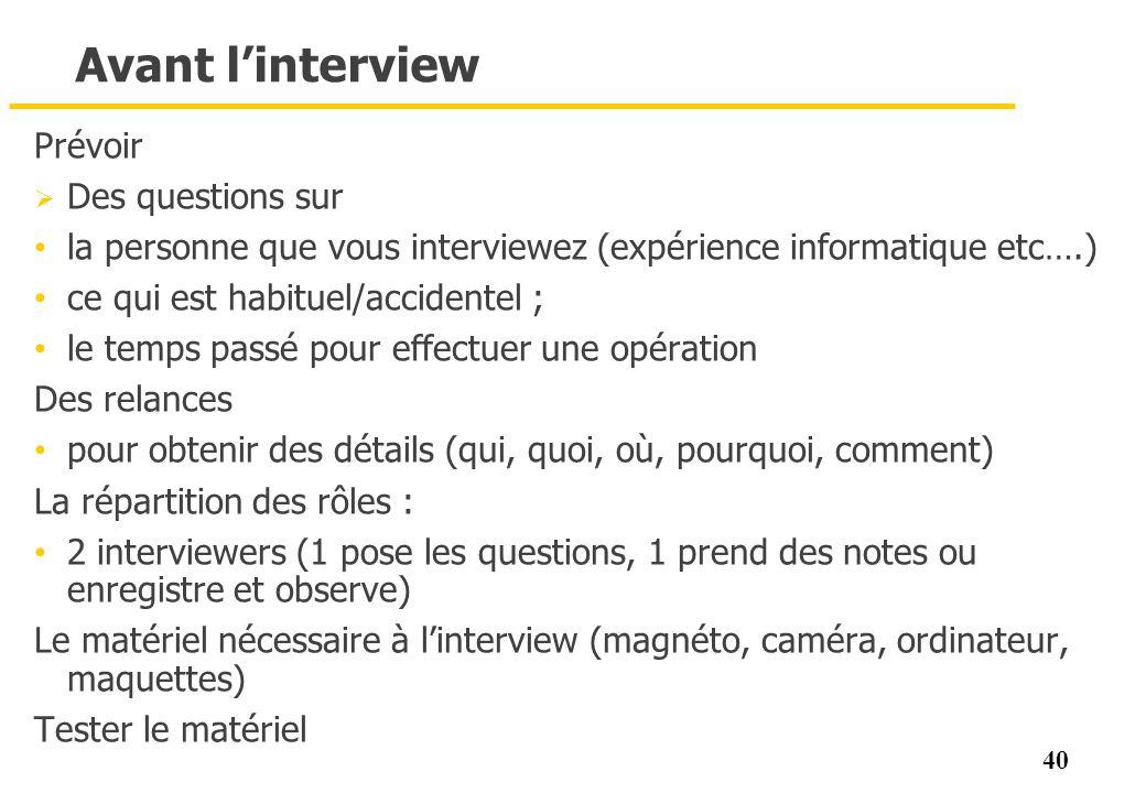 Avant l'interview Prévoir Des questions sur