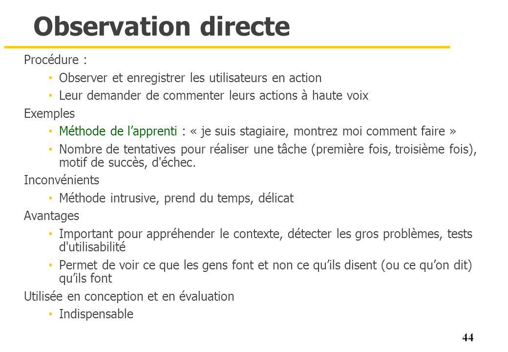 Observation directe Procédure :