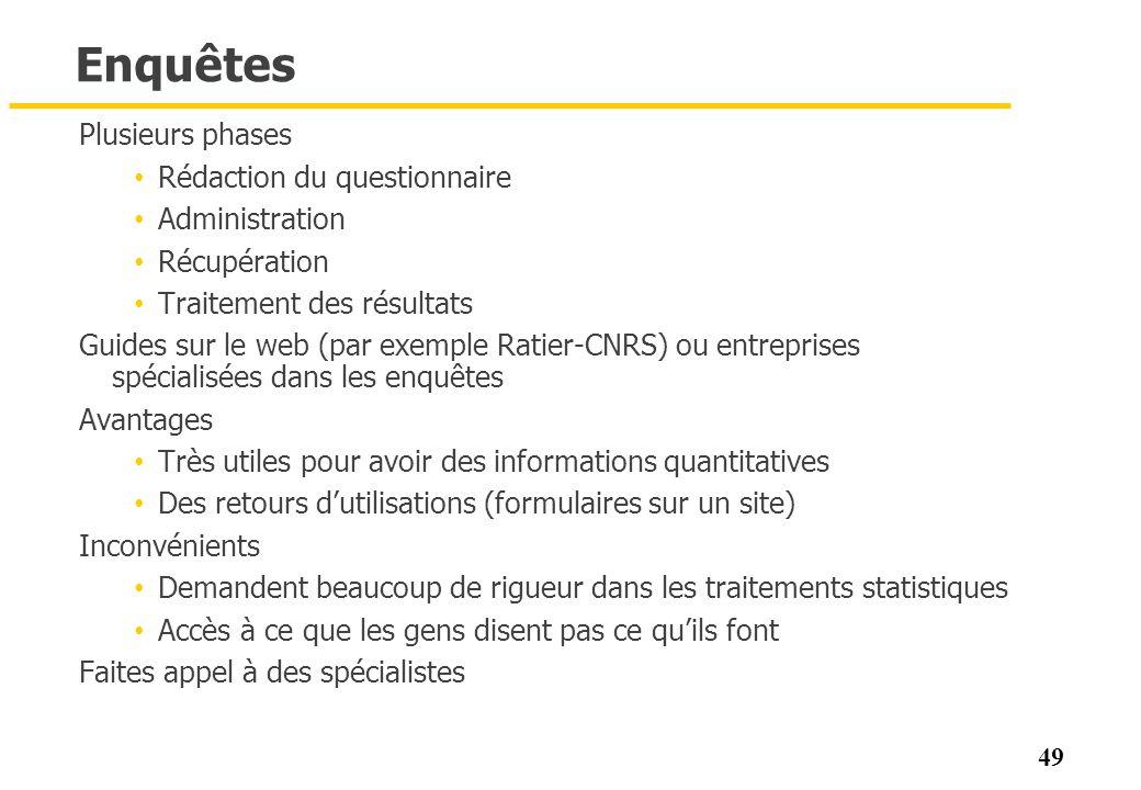 Enquêtes Plusieurs phases Rédaction du questionnaire Administration